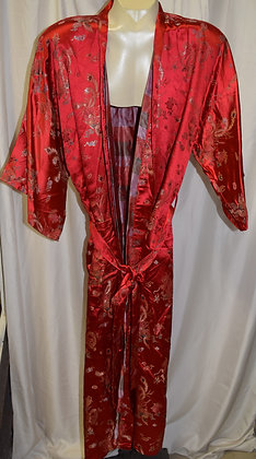 Vintage Long Cut Traditional Chinese Robe Red