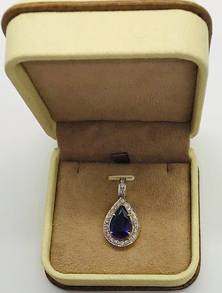 14k Yellow Gold Fancy Style Slider Pendant with Amethyst