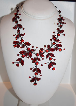 Creations Georgianni Handmade Swarovski Floral Necklace Red