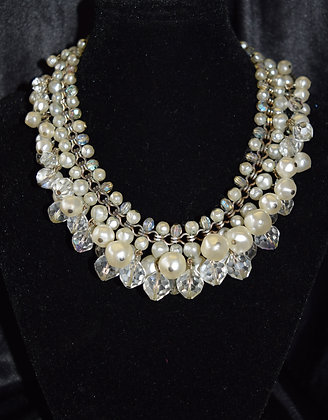 Vintage Laguna Costume Pearl and Crystal Necklace