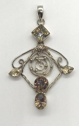Large Fancy Vintage Silver with Alexandrite Gemstones Pendant