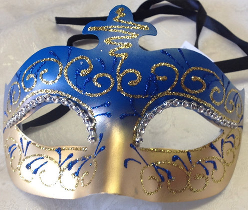 Blue and Gold Decorative Masquerade Mask