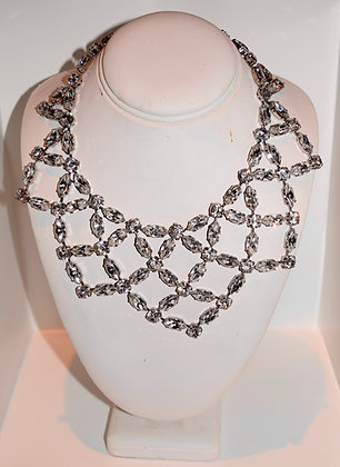 Creations Georgianni Handmade Swarovski Large Collarbone Necklace Clear
