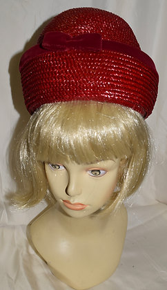 Vintage Boutique New York Red Fancy Summer Hat with Bow