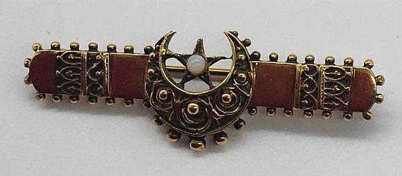 Vintage 9k Gold Moon & Star Masonic Brooch Pin