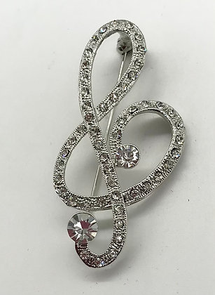 Music Treble Clef Brooch Pin Clear