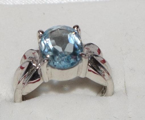 Oval Shape Blue Topaz & Silver Ring Size 5 1/2