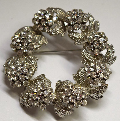 Floral Wreath Costume Brooch Pin