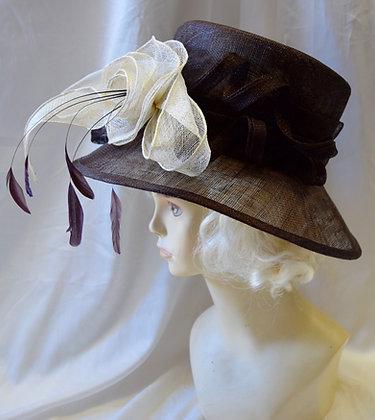 Brown & Beige Fancy Derby Hat with Flower Design