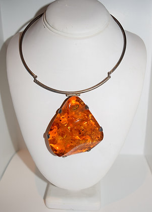 Large Cognac Baltic Amber Pendant set in Silver Necklace