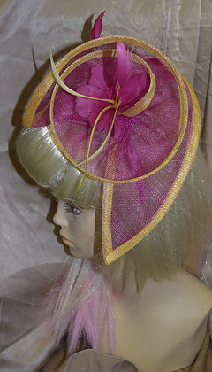 Fancy Pink and Yellow Fascinator