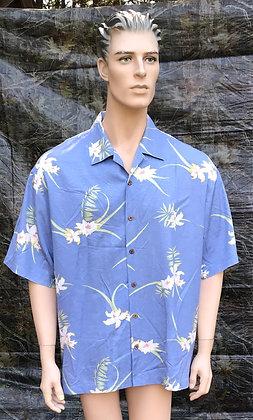 Vintage Hawaiian Aloha Luau Shirt Blue, Yellow and Beige XL