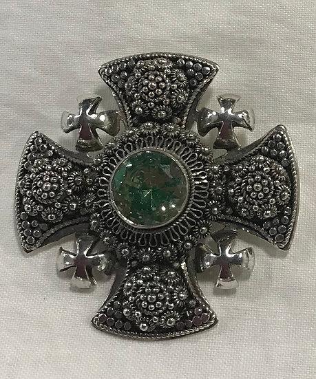 Vintage Silver Bethlehem Jordan H.J.A Cross Brooch/Pendant