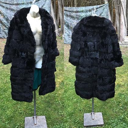 Vintage 70's Style Black Possum & Fox Fur Coat