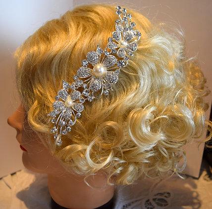 Large Floral Rhinestone & Costume Pearls Hair Comb