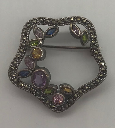 Multi Gemstone and Marcasites Floral Style Brooch Pin
