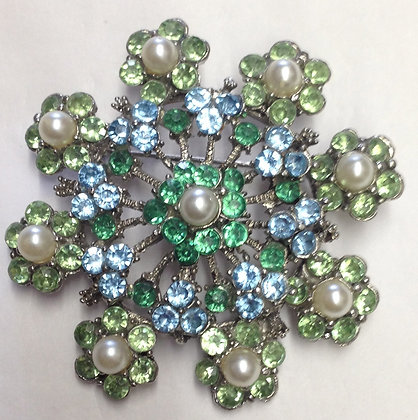 Green and Pearl Flower Brooch Pin and Pendant