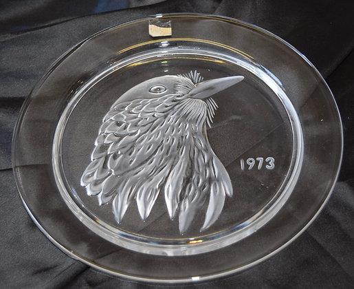 Lalique R France Crystal Plate with Eagle Head