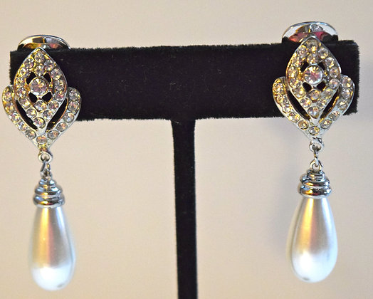 Costume Rhinestone & Pearl Drop Clip On Earrings