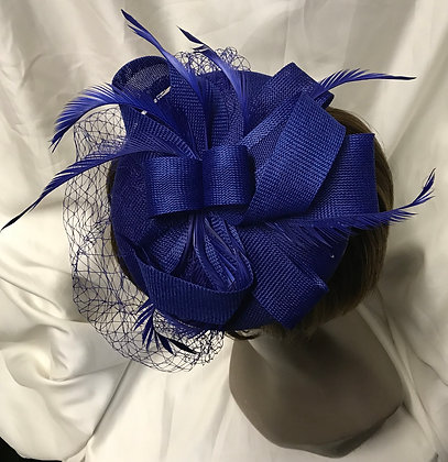 Round Shape Fancy Royal Blue with Feathers and Birdcage Design Fascinator
