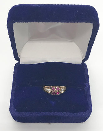 Antique Handmade European 18k Gold Ring with Rubies and Raw Diamonds