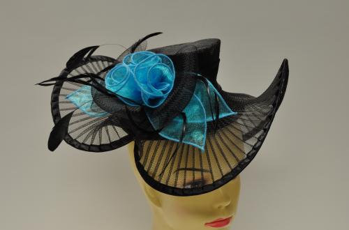 Fancy Black and Turquoise Hat Style Fascinator