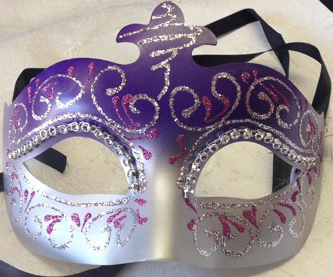 Purple and Silver Decorative Masquerade Mask