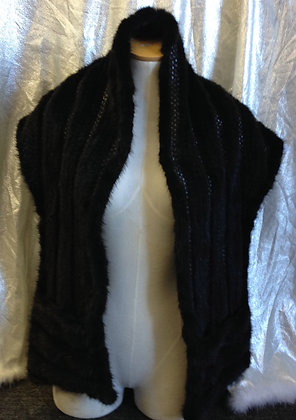 Sheared Knitted Mink Fur Shawl with Pockets