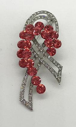Ribbon Brooch Pin Clear & Pink Rhinestones