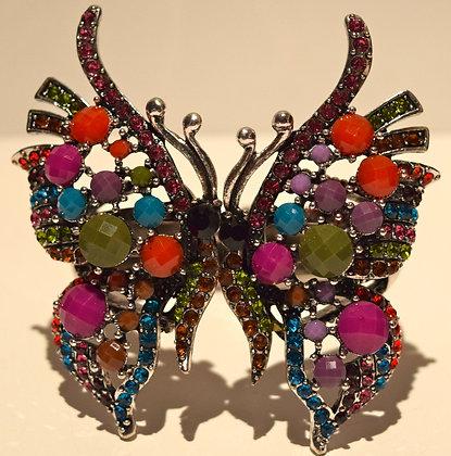 Butterfly Rhinestone Cuff Bracelet Multi Colour