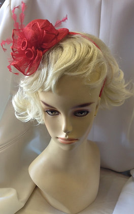 Fancy Red Miniature Hat Fascinator