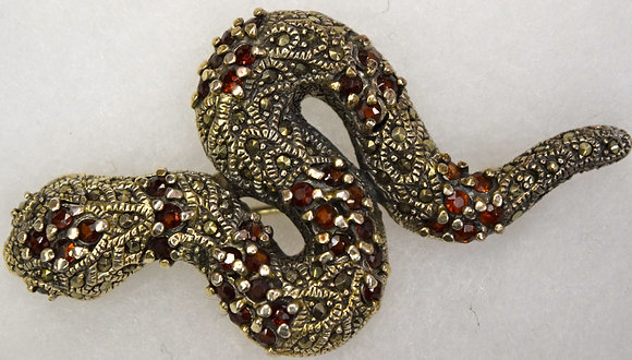Snake Marcasite & Garnet Brooch Pin & Pendant