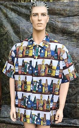 Men's Short Sleeve Button Down Shirt with Beer Bottle Design Shirt 1XL