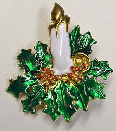 Vintage Christmas Candle Poinsettia Brooch Pin