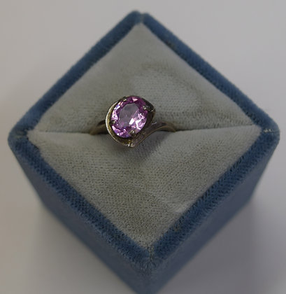 Vintage Pink Cubic Zirconia Sterling Silver Ring