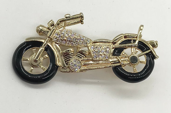 Motorcycle Brooch Pin with Clear Rhinestones