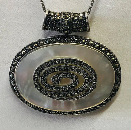 Vintage Mother of pearl & Marcasite Set in Silver Pendant