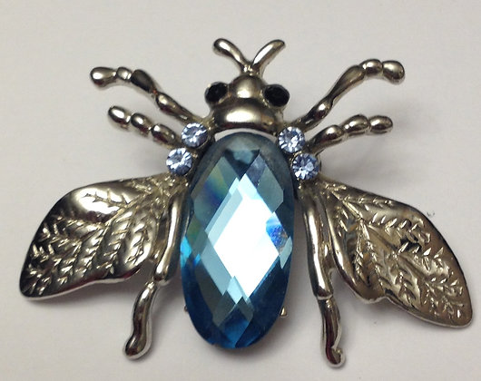 Fly Brooch with Large Blue Glass Gem