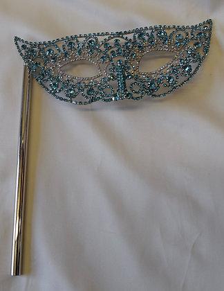 Hand Held Crystal Masquerade Mask Aqua