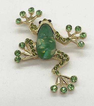 Frog Brooch Pin with Green  Rhinestones