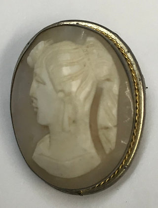 Antique Cameo Set in Silver Brooch Pin & Pendant