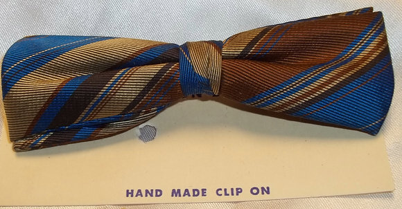 Vintage Hand Made Clip Bow Tie Brown Blue