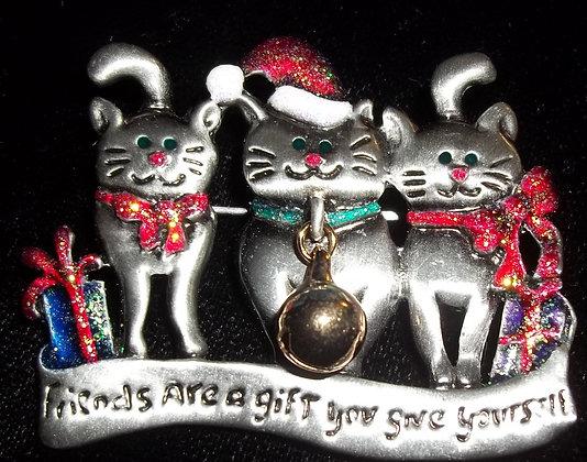 Christmas Three Cats Brooch Pin