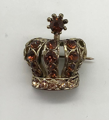 Miniature Crown Brooch Pin Bronze Rhinestones