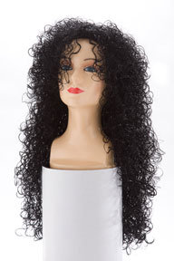 Deluxe Long Black Curly Wig