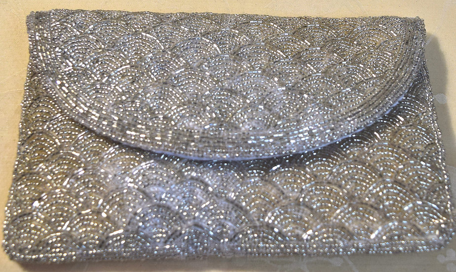 Vintage Clutch Evening Purse Silver Beaded