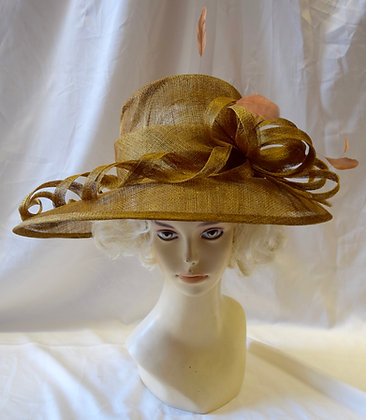 Gold Colour Fancy Derby Hat with Swirl Design