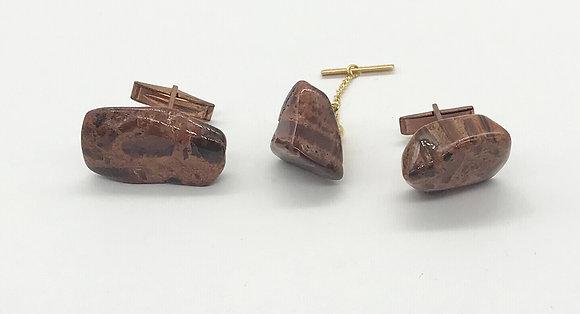 Vintage Cufflink Set Agate Gemstones