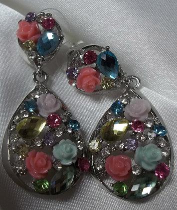 Costume Flower Drop Earrings