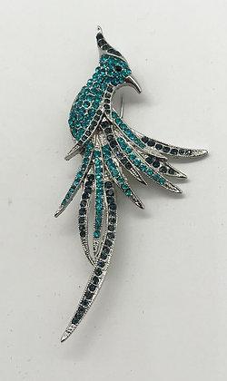 Bird Brooch Blue Colour Rhinestones